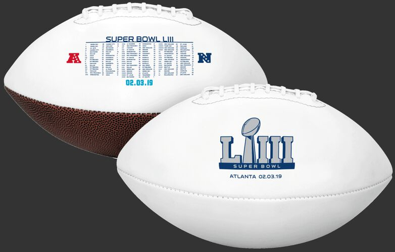 White 2019 Road to Super Bowl 53 Full Size Football With Super Bowl Logo SKU #06851097189