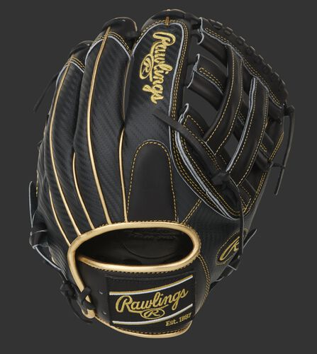Black Hyper Shell back of a Pro Preferred H-web infield glove with a black Rawlings patch - SKU: PROS206-6BCF