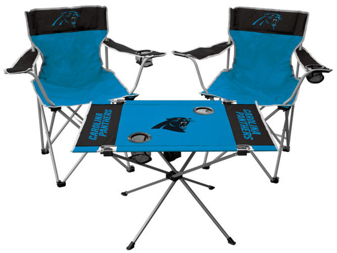 Front of Rawlings Blue and Black NFL Carolina Panthers 3-Piece Tailgate Kit With Two Kickoff Chairs, An Endzone Table, And A Transport Bag With Team Logo SKU #01041090511