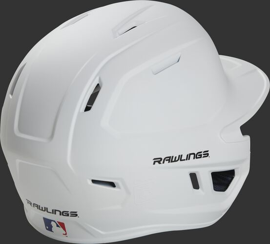 Back right of a matte white MACHEXTR Rawlings junior size batting helmet