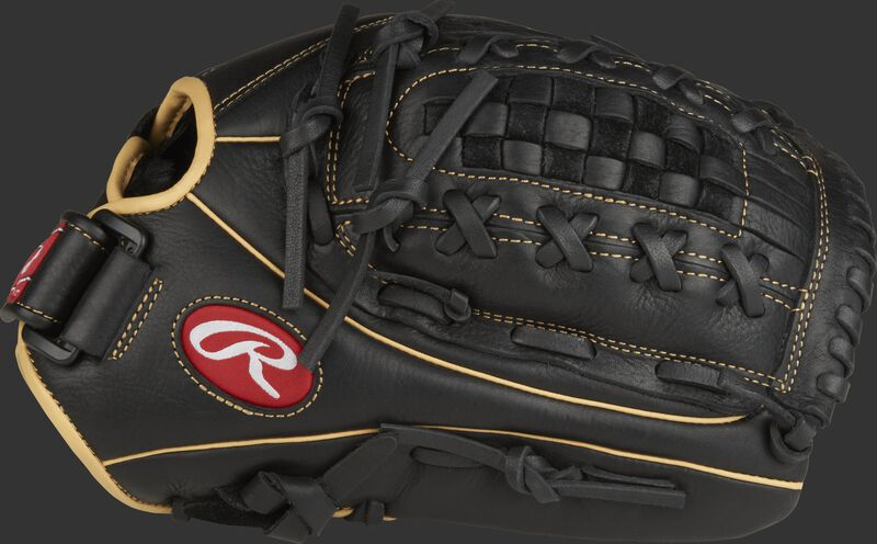 Thumb view of a black RSO125BCC Shut Out 12.5-inch outfield glove with black Double-Laced Basket web