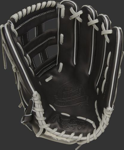 Black palm of a Rawlings Kevin Kiermaier glove with a black web and grey laces - SKU: PROS3039-KK39