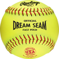 """A yellow C12RYSA USA NFHS Official 12"""" Dream Seam softball with red stitching image number null"""