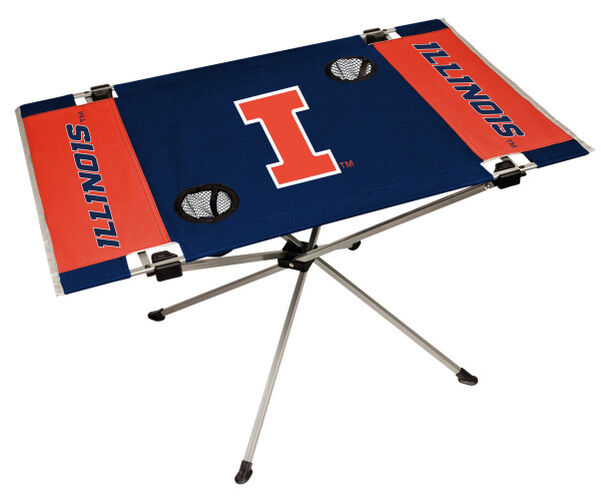 Rawlings Navy and Orange NCAA Illinois Fighting Illini Endzone Table With Two Cup Holders, Team Logo, and Team Name SKU #04053029111