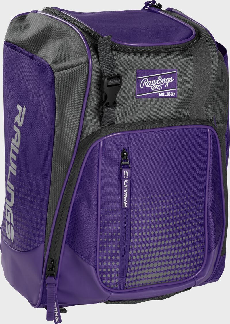 Front left angle of a purple Rawlings Franchise bag with gray accents - SKU: FRANBP-PU