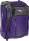 Front left angle of a purple Rawlings Franchise bag with gray accents - SKU: FRANBP-PU image number null