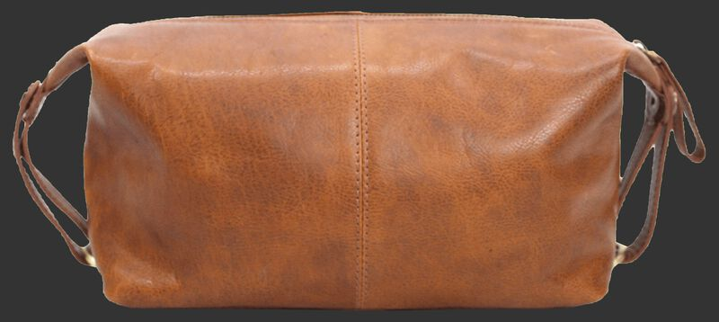Back of a tan Rawlings Rugged leather travel kit with straps on both sides - V625-202