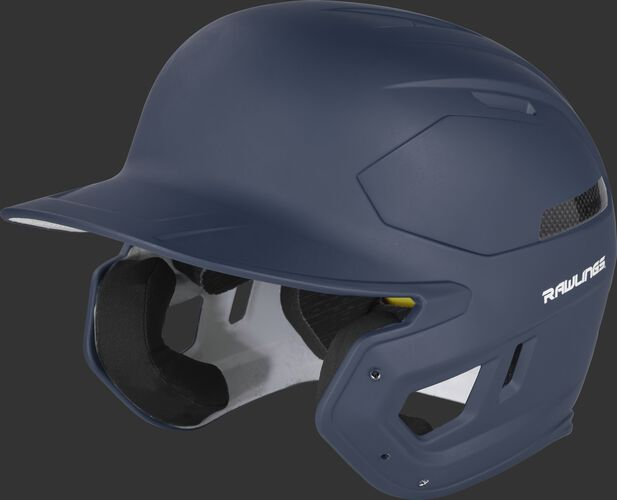 Left angle view of a matte navy CAR07A MACH Carbon high school/college batting helmet