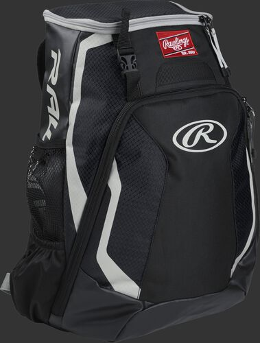 Right side of a black R500 Rawlings Players equipment backpack with white trim