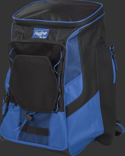 Front left of a royal/black R600 Rawlings backpack without bats
