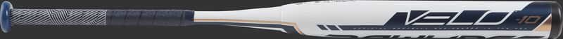 Barrel of a white FP9V10 2019 Velo high school/college softball bat with navy/rose gold accents