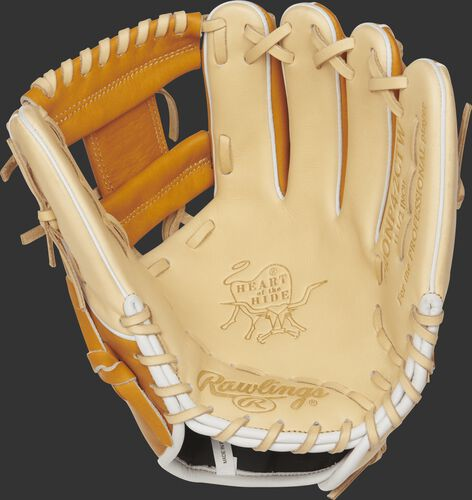 A PRONP4-2CTW 11.5-inch Heart of the Hide I web glove with a camel palm and camel laces
