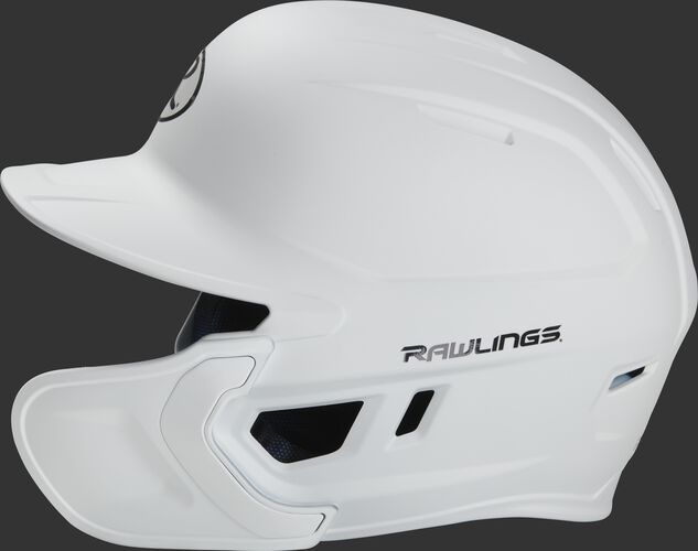 Left side of a MACHEXTR Rawlings MACH helmet with EXT extension piece