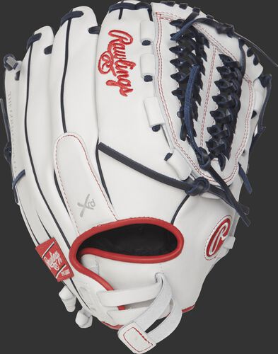 Back view of a white RLA125FS-15WNS 12.5-inch Liberty Advanced finger shift softball glove with a Pull-Strap design