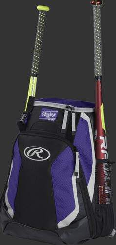 Left side of a black/purple R500 baseball backpack with a red bat in the side sleeve