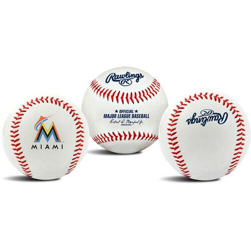 3 views of a MLB Miami Marlins baseball