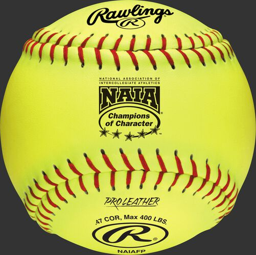A yellow NAIAFP official NAIA 12-inch softball with red stitching