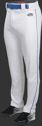 Front of Rawlings White/Royal Youth Launch Semi-Relaxed Piped Baseball Pant - SKU #YLNCHSRP
