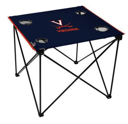 A navy NCAA Virginia Cavaliers deluxe tailgate table with four cup holders and team logo printed in the middle