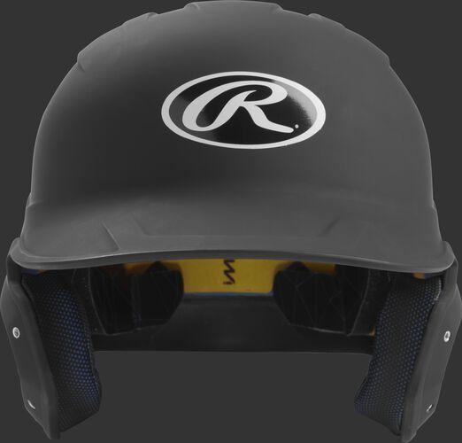Front of a matte black MACH junior size batting helmet