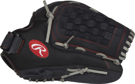 Thumb view of a black R140BGS Renegade 14-inch softball glove with a black Basket web