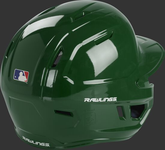 Back right of a MCH01A Rawlings high school batting helmet with a dark green shell