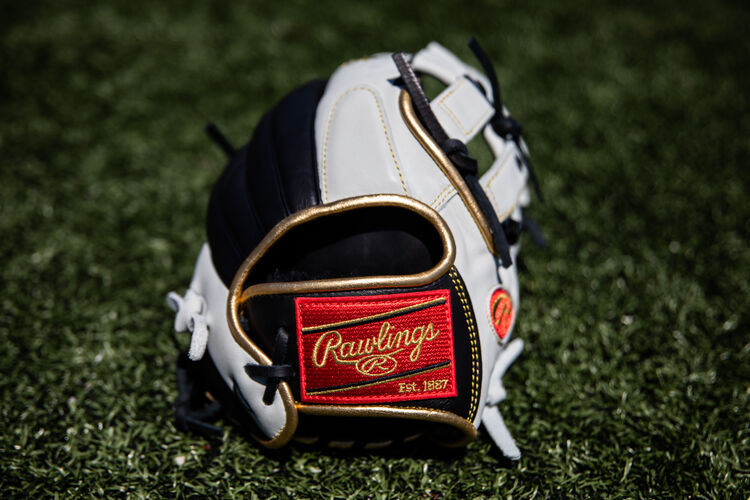 Red Rawlings patch on a Rawlings Encore outfield glove lying on a field - SKU: EC1225-6BW