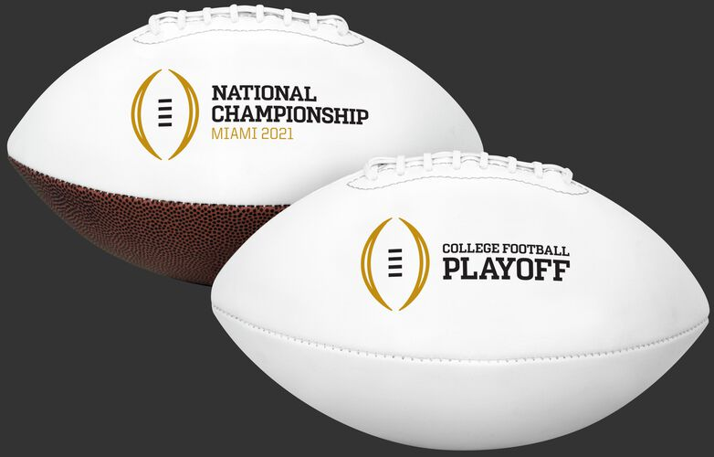 Two 2021 College National Championship full sized footballs with the CFP logo on both sides - SKU: 04543449511