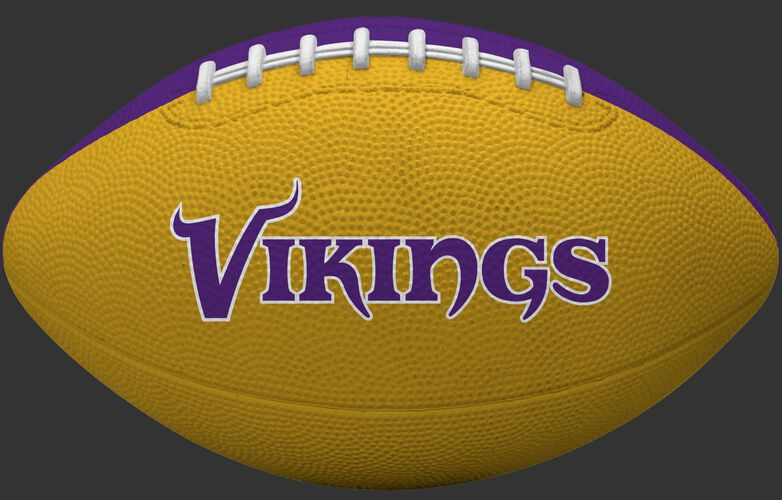 Yellow side of a Minnesota Vikings Gridiron tailgate football with team name SKU #09501075122