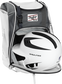 A white/black helmet in the main compartment of a white Rawlings Franchise backpack - SKU: FRANBP-W image number null