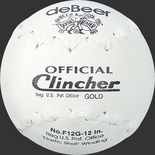 A white W10308 deBEER 12-inch Clincher softball