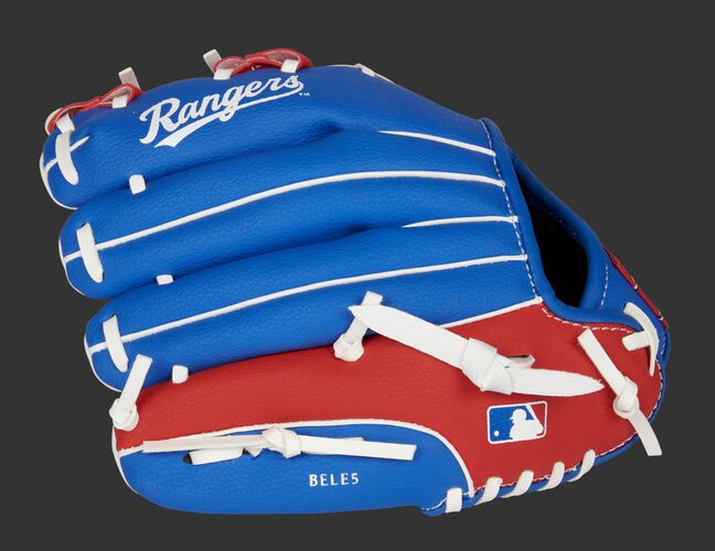 Back of a blue/red Texas Rangers 10-inch youth glove with the MLB logo on the pinky - SKU: 22000022111