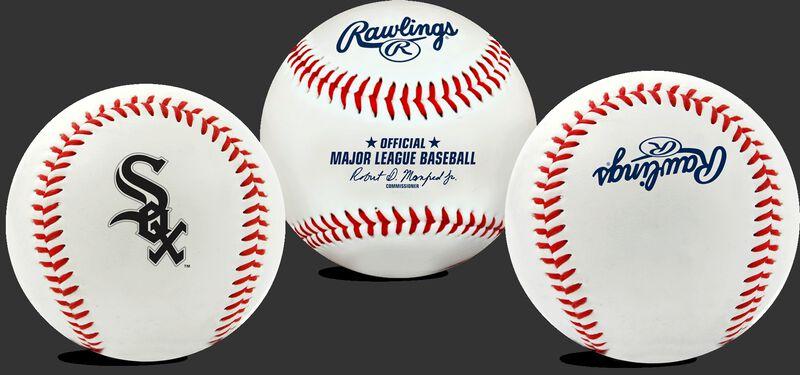 3 views of a MLB Chicago White Sox baseball