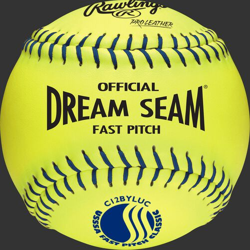 A yellow C12BYLUC USSSA Official 12-inch Dream Seam softball with blue stitching