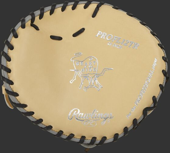 PROFL12TR 28-inch Heart of the Hide pancake trainer with a camel palm and black laces