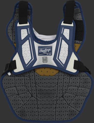 Back harness of a navy/white CPV2N intermediate Velo 2.0 chest protector with Dynamic Fit System 2.0