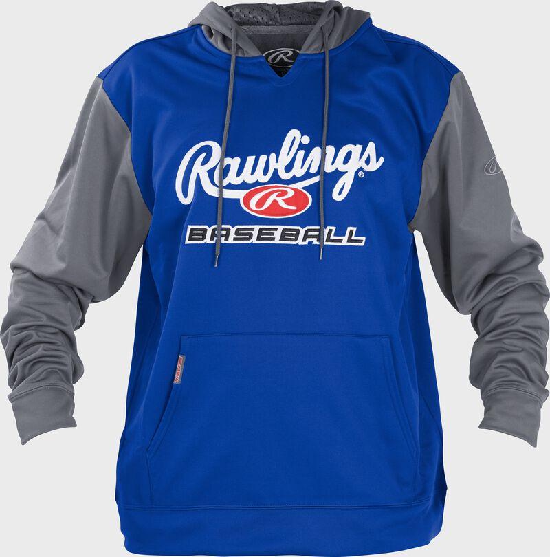 Front of Rawlings Royal/Gray Youth long Sleeve Hoodie - SKU #YPFHPRBB-GR-88