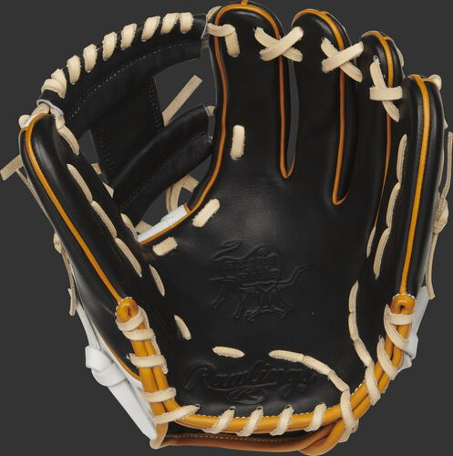 Palm view of a PRO204W-2B Heart of the Hide R2G 11.5-inch infield glove with a black palm and camel laces