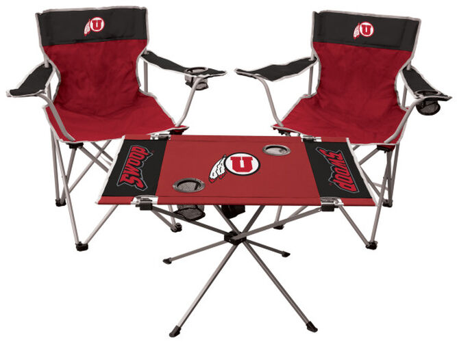 Front of Rawlings Crimson and Black NCAA Utah Utes 3-Piece Tailgate Kit With Two Kickoff Chairs, An Endzone Table, And A Transport Bag With Team Logo SKU #00993105511