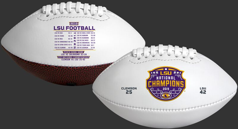 2 sides of a white 2020 LSU Tigers College Football National Champions Youth sized football