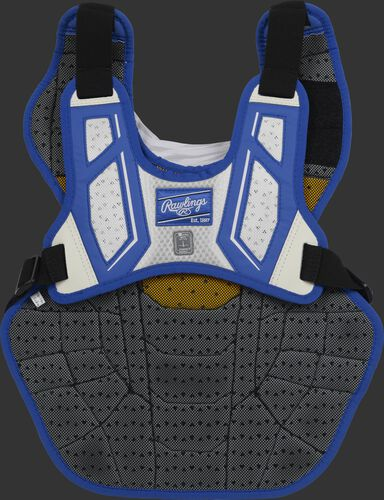 Back harness of a royal/white CPV2N adult Velo 2.0 chest protector with Dynamic Fit System 2.0