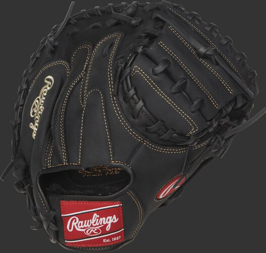 Back view of a black RCM325B 32.5-inch Renegade Series recreational catcher's mitt with a black back