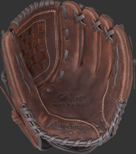 P120BFL Rawlings Player Preferred recreational baseball/softball glove with a brown palm and brown laces