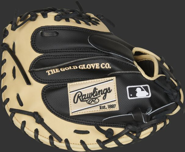 Black finger side of a 2020 HOH catcher's mitt with camel trim and camel Rawlings patch - SKU: PROYM4BC