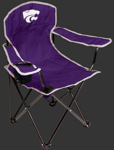 A purple NCAA Kansas State youth quad chair with a team logo on the back