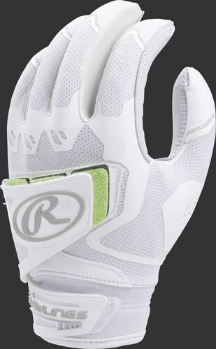 A white FPWPBG-W women's Workhorse batting glove with a pad over the back of the palm