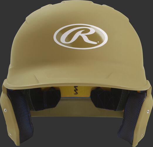 Front of a matte Vegas gold MACH junior size batting helmet