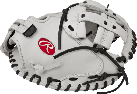 Thumb view of a white RLACM34 Liberty Advanced 34-inch fastpitch catcher's mitt with a white Modified H web