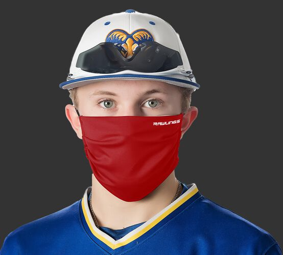 A player wearing a red Performance wear ear loop mask - SKU: RMSKE-RED