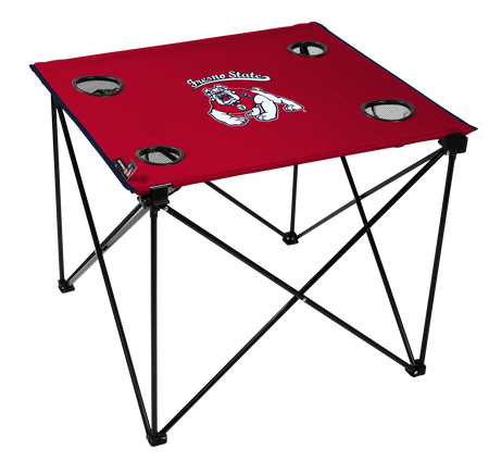 A red NCAA Fresno State Bulldogs deluxe tailgate table with four cup holders and team logo printed in the middle